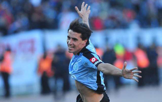 Farré, en 2011, celebrando el gol del histórico ascenso en el Monumental.