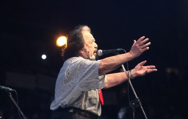 Horacio Guarany en su última actuación en Jesús María en 2015.