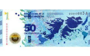 El nuevo billete de 50 pesos tiene la figura de las Islas Malvinas.