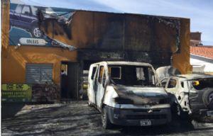 Así quedó el taller tras la explosión.