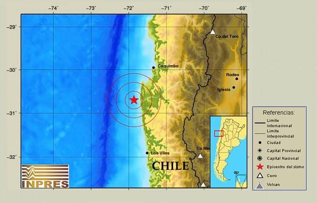 El sismo se registró a las 23:51 cerca de Coquimbo, Chile.
