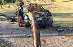 Así quedó el Fiesta luego de chocar el árbol y tumbar.