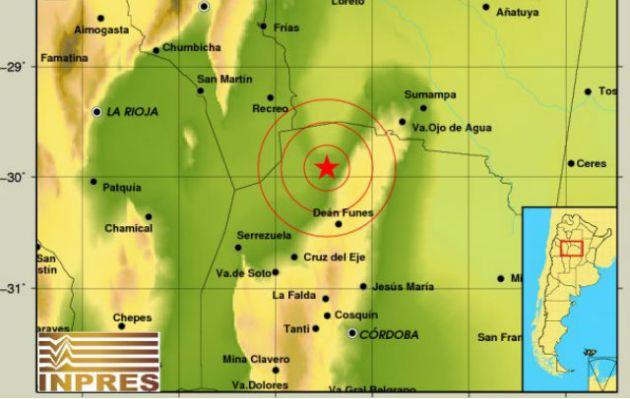 El sismo se registró en el norte de Córdoba.