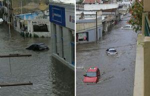 La lluvia anegó calles de la ciudad de Río Cuarto.
