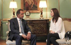 Scioli y Vidal se reunieron en la casa de Gobierno.