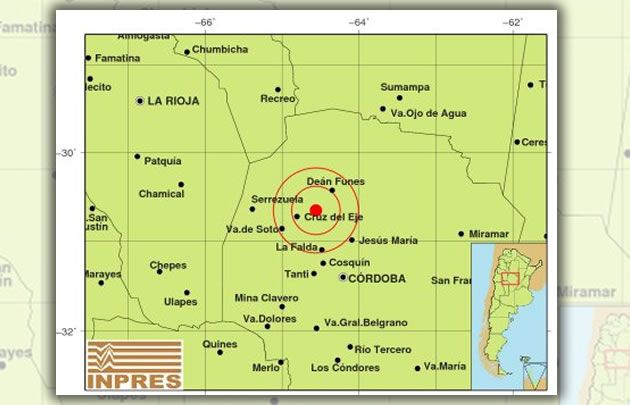 El epicentro fue a 24 kilómetros al este de la ciudad de Cruz del Eje.