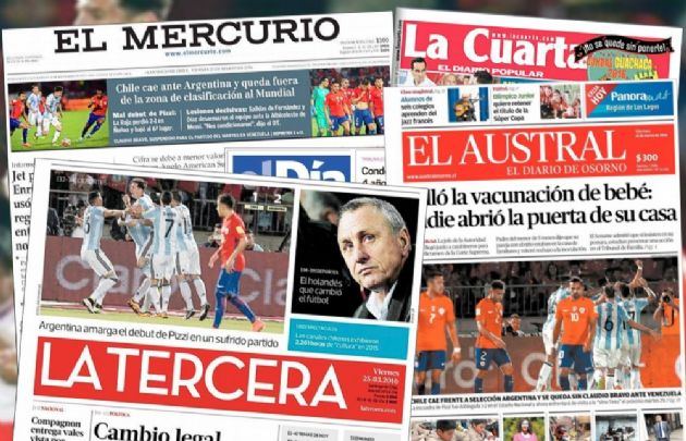 La prensa chilena le restó importancia a la victoria de Argentina.