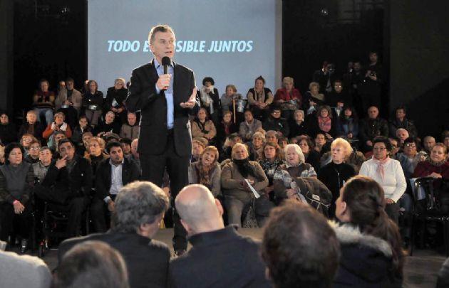 Macri durante el anuncio del pago a jubilados.