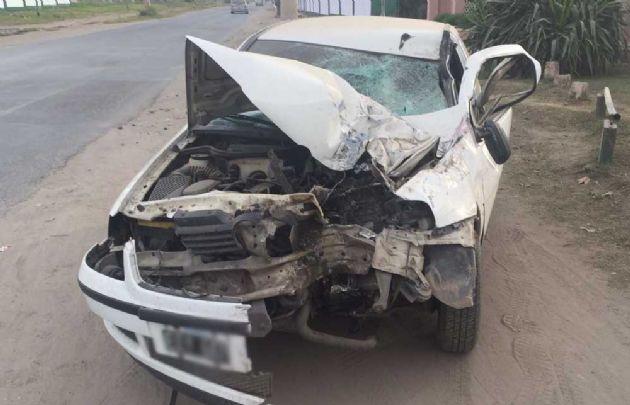 Así quedó el VW Gol tras el accidente.