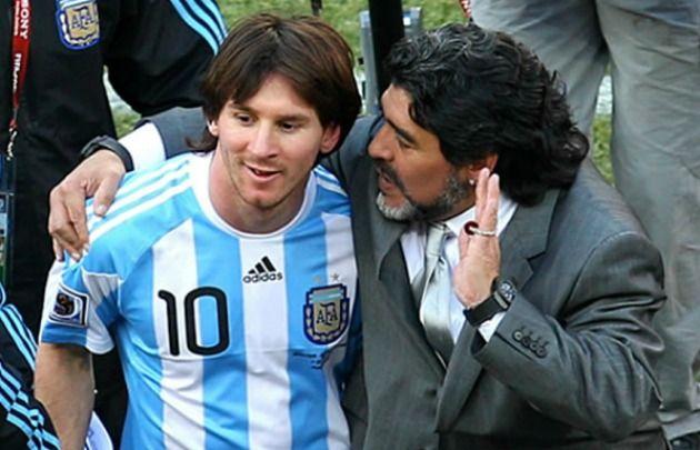 Messi y Maradona, cuando Diego era el técnico de la Selección.