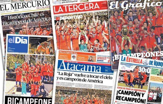 Los medios chilenos elogian a su seleccionado de fútbol.