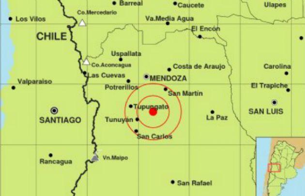 El epicentro del movimiento sísmico en Mendoza.