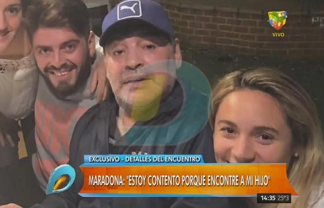"""Maradona: """"Estoy re contento porque encontré a mi hijo""""."""