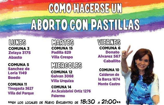 Las Mujeres del Nuevo Encuentro ofrecen charlas de aborto con píldoras.