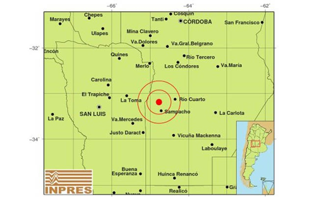El sismo se registró a 207 kilómetros de Córdoba.