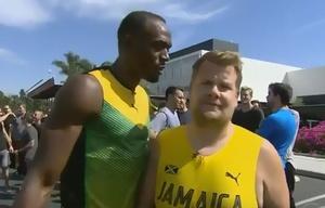 James Corden retó a Usain Bolt a una carrera de 100 metros.