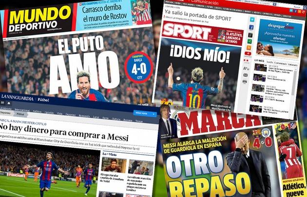 Los diarios españoles reflejaron la actuación de Messi en el triunfo sobre el City.
