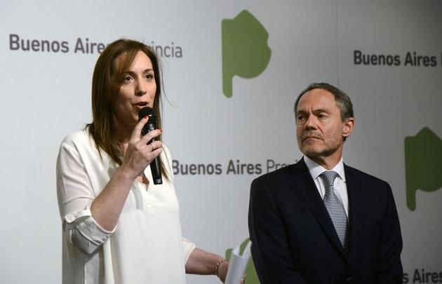Vidal junto a Ferrari, al anunciar el envío del proyecto a la Legislatura.