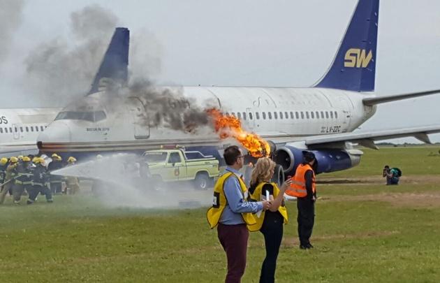 Simulacro de accidente en el Aeropuerto Córdoba.