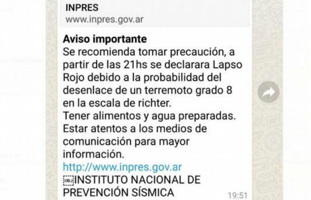 El falso mensaje de alerta en San Juan que circuló en las redes.