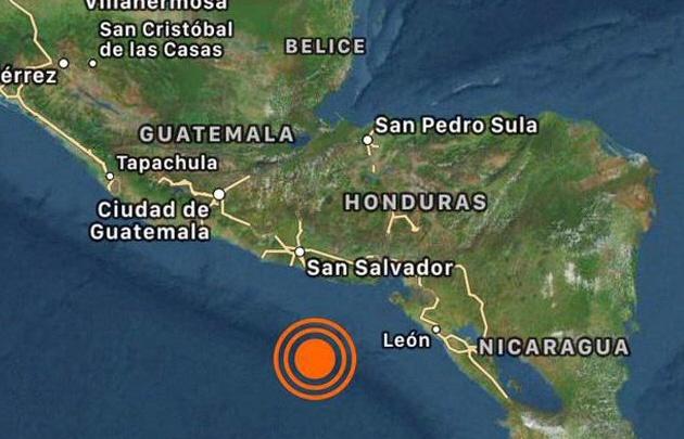 Potente sismo en el Océano Pacífico frente a las costas de El Salvador.