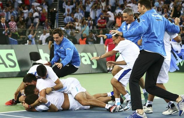 El equipo argentino celebra la histórica consagración en Croacia.