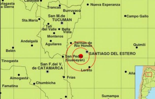 El epicentro del sismo registrado en Santiago del Estero.