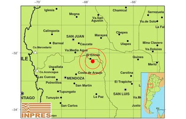 El epicentro del sismo que despertó hoy a Cuyo.