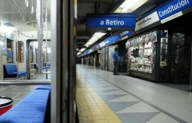Línea C, sin actitvidad en Buenos Aires.