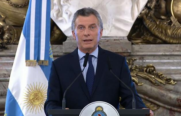 Macri al anunciar el acuerdo en Casa Rosada.