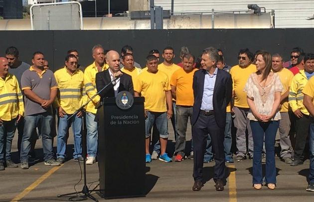 Larreta y Macri en el acto en que se dio inicio a las obras del Paseo del Bajo.
