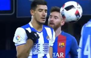 Messi se enoja con jugador del Real Sociedad por un pelotazo