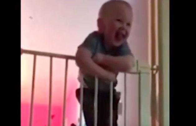 Bebé trepa la reja protectora