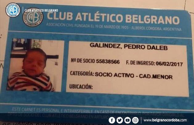El pequeño Pedro Daleb ya es socio de ''El Celeste'' (Foto:@Belgrano)