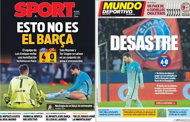 La prensa catalana criticó al ''Barsa'' y a Messi tras la caída ante el PSG.