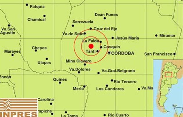 El temblor registrado entre Tanti y La Falda fue a una profundidad de 20 km.