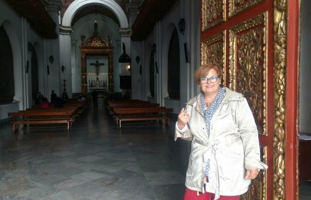 María Eugenia Pasquali en la capilla del Sagrario en Bogotá