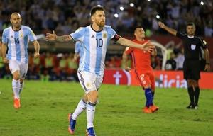 Messi celebra el gol de la victoria de la Selección.