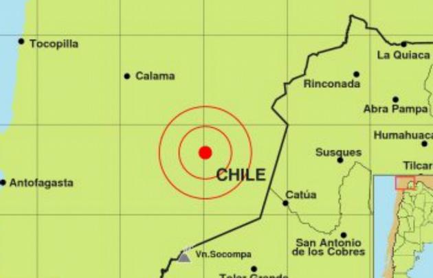 El sismo se registró al norte de Chile.