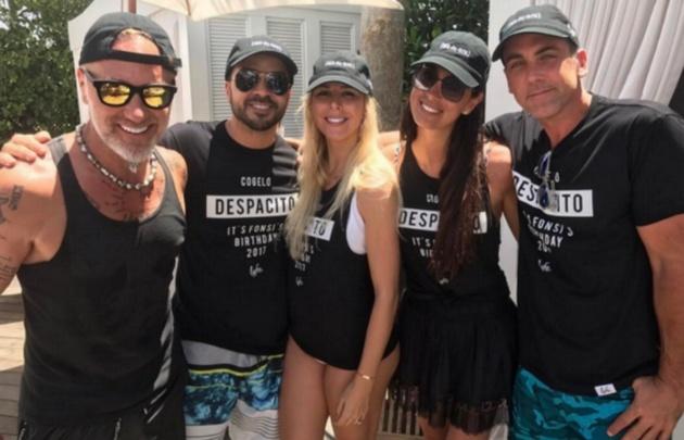 Gianluca Vacchi y Luis Fonzi coincidieron en Miami.