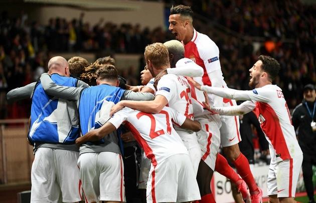 Mónaco celebra el pase a semifinales de la Liga de Campeones.