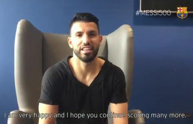 El Kun Agüero felicitó a Messi en un emotivo video del Barcelona.