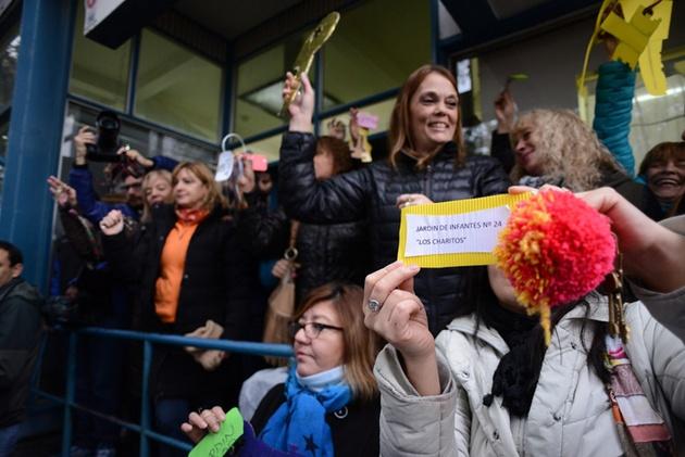 Los docentes de Santa Cruz repudiaron la represión del sábado.