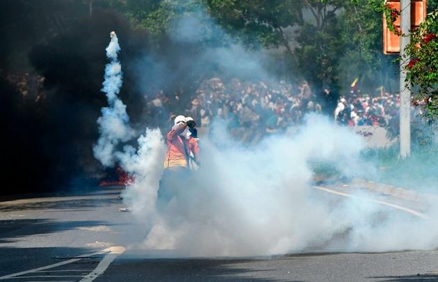 Continuaron este lunes las protestas en Venezuela.