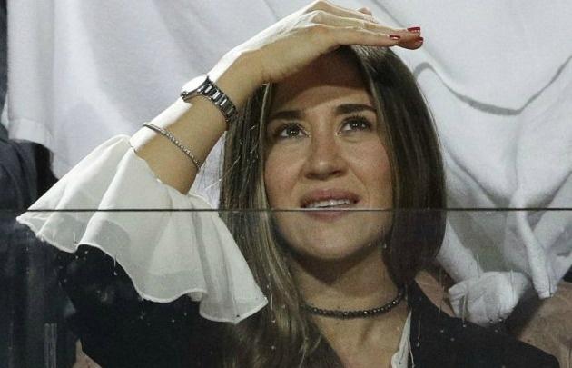 Jimena Barón en el partido de Del Potro