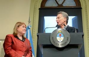 Malcorra y Macri, en el momento del anuncio del alejamiento de la canciller.