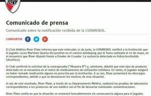 Comunicado de River sobre la situación de Martínez Quarta.