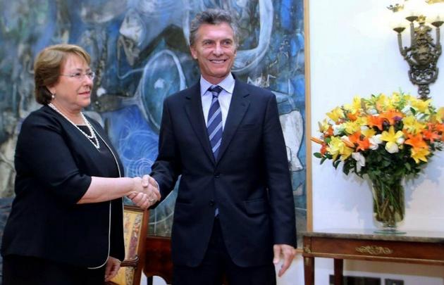 Bachelet recibe al presidente Macri.