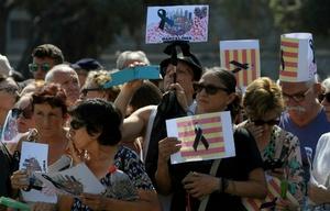El rechazo al terrorismo fue unánime en la Plaza de Cataluña.