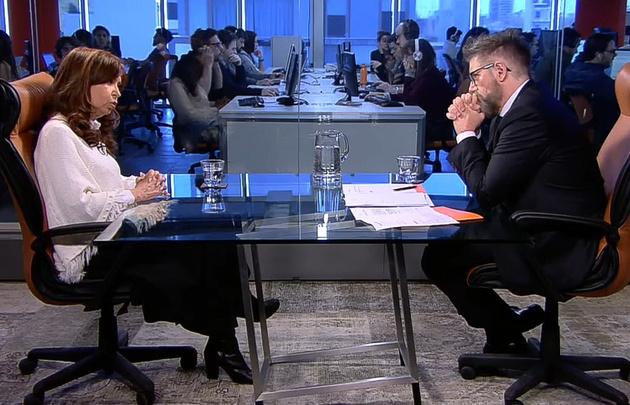Cristina Fernández en una entrevista con Luis Novaresio.